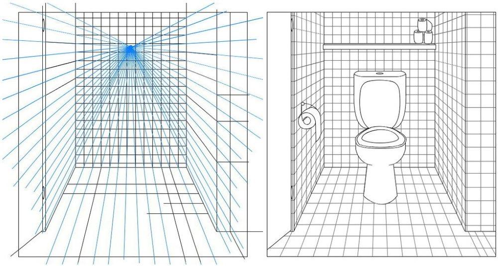 Перспективный эскиз небольшого туалета в квартире