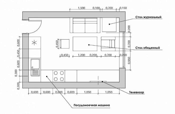 План-схема кухни-гостиной с угловым гарнитуром