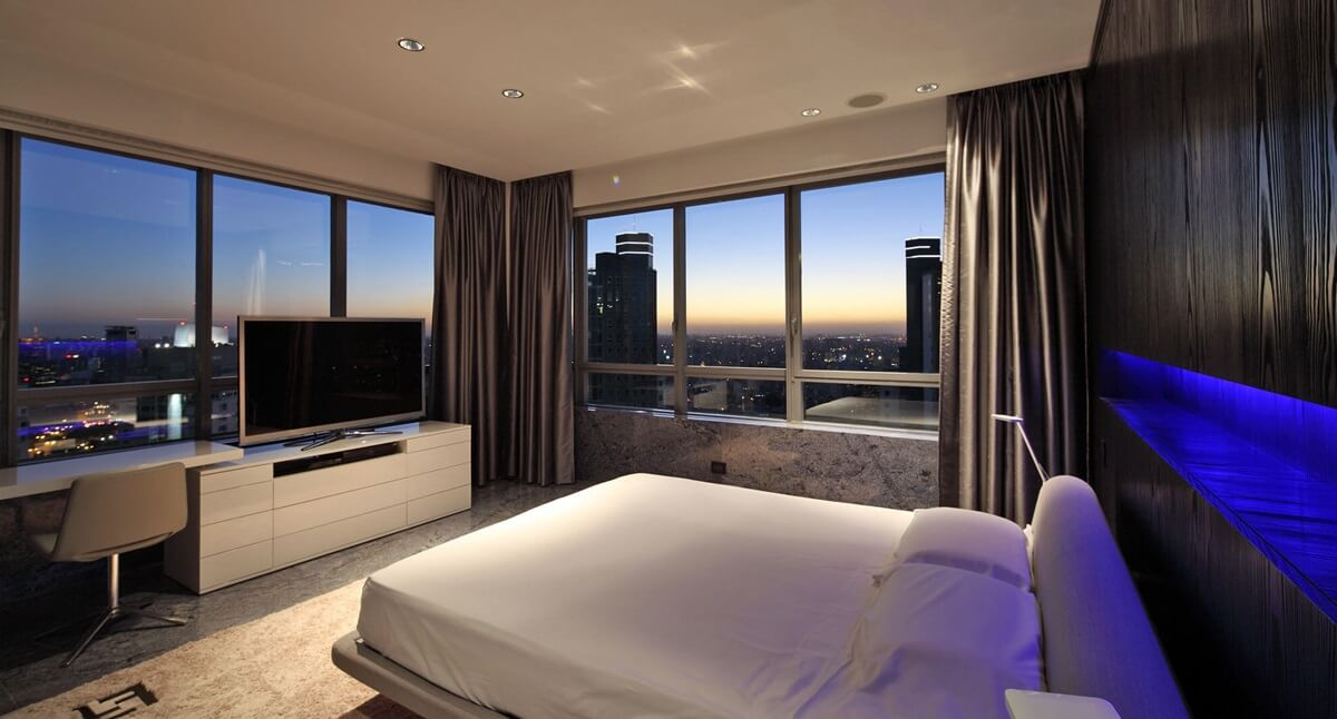спальня в стиле хай тек планировка