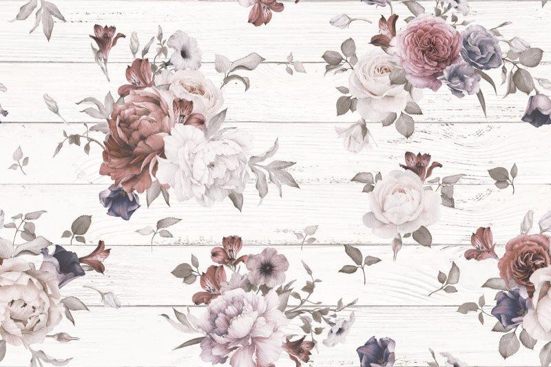 Рисунки цветов на плитке шебби шик