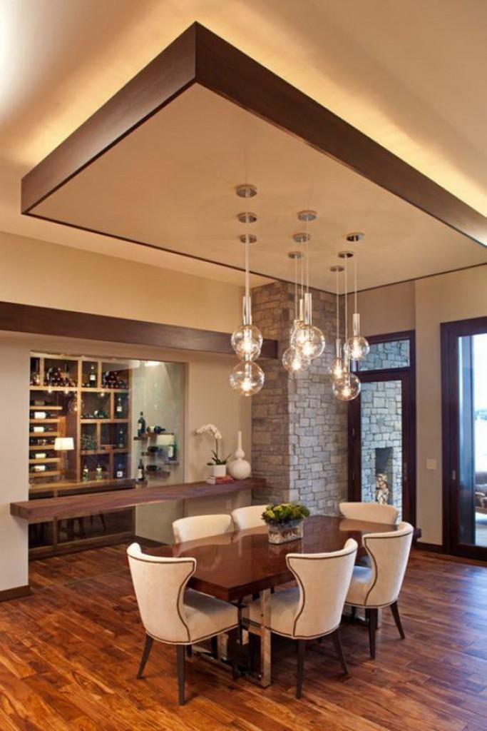 Зонирование кухни-гостиной с помощью подсветки