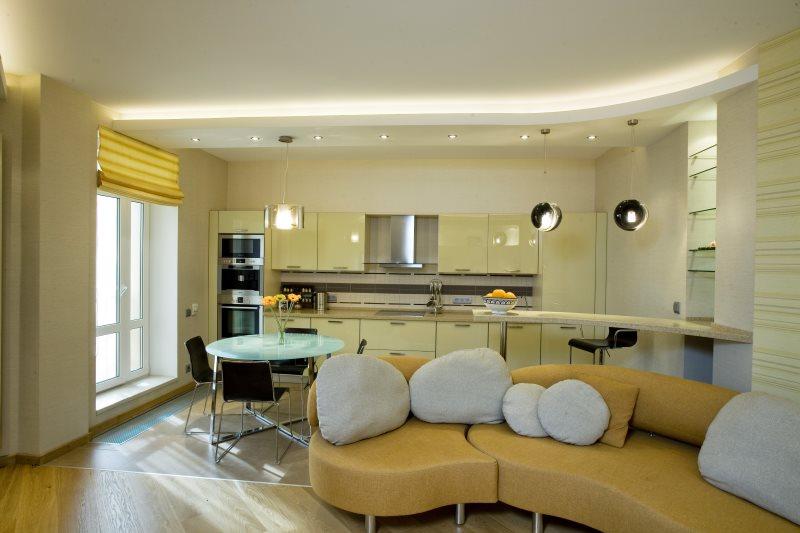 Светодиодная подсветка второго уровня гипсокартонного потолка