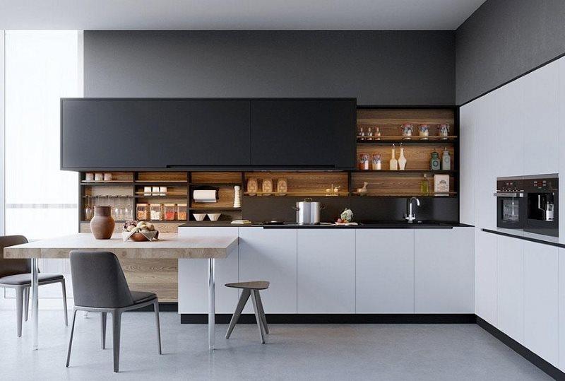 Открытые полки на кухне в стиле хай тек