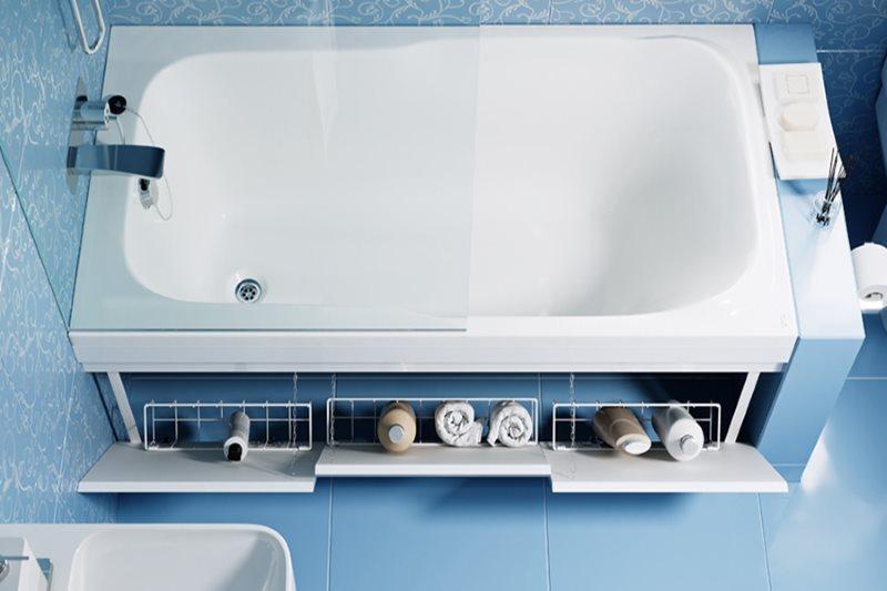 Экран под ванной с откидными полочками-корзинами