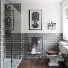 Деревянный пол в современной ванной