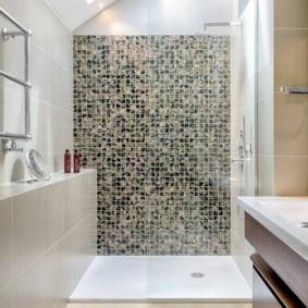 Зонирование ванной комнаты отделкой стен