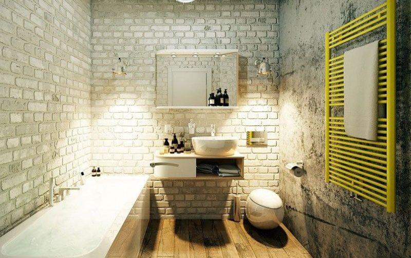 Желтый полотенцесушитель в ванной лофт стиля