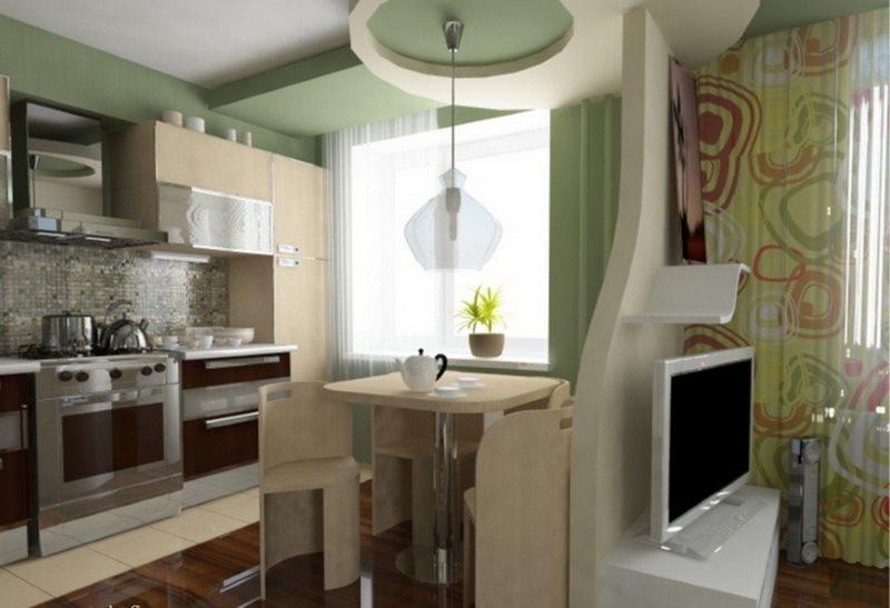 Небольшая перегородка с телевизором в кухне-гостиной