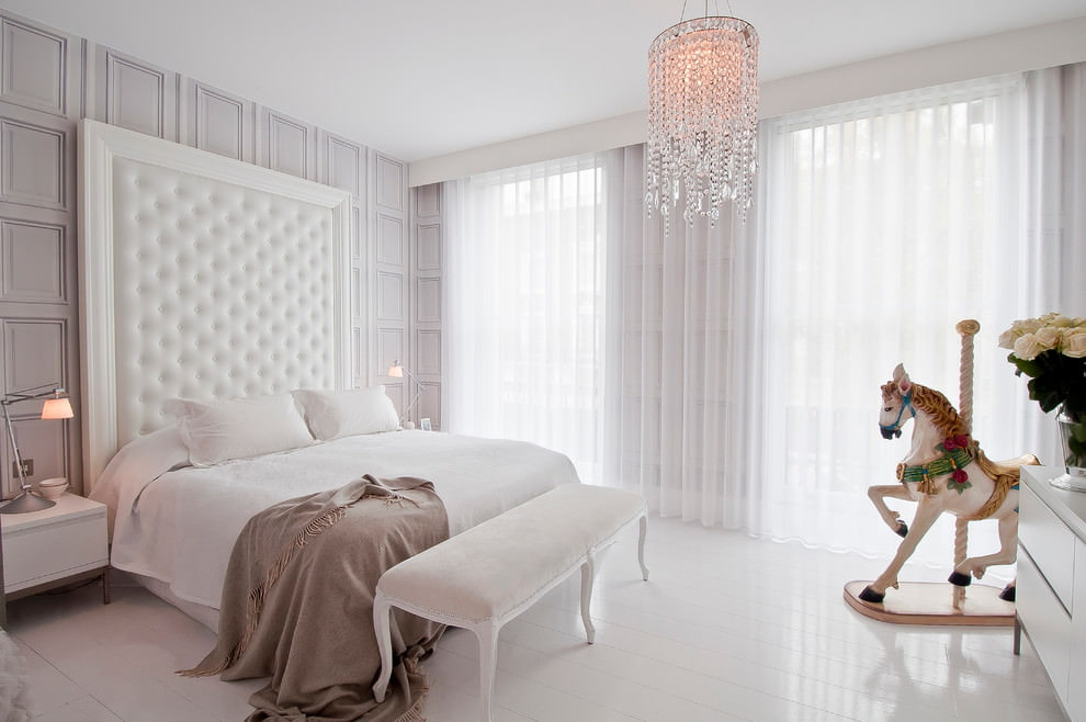 белый тюль для спальни