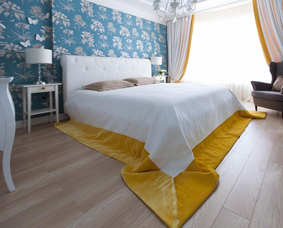 двухцветные шторы в спальню