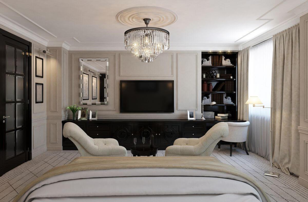 спальня в стиле неоклассика зонирование