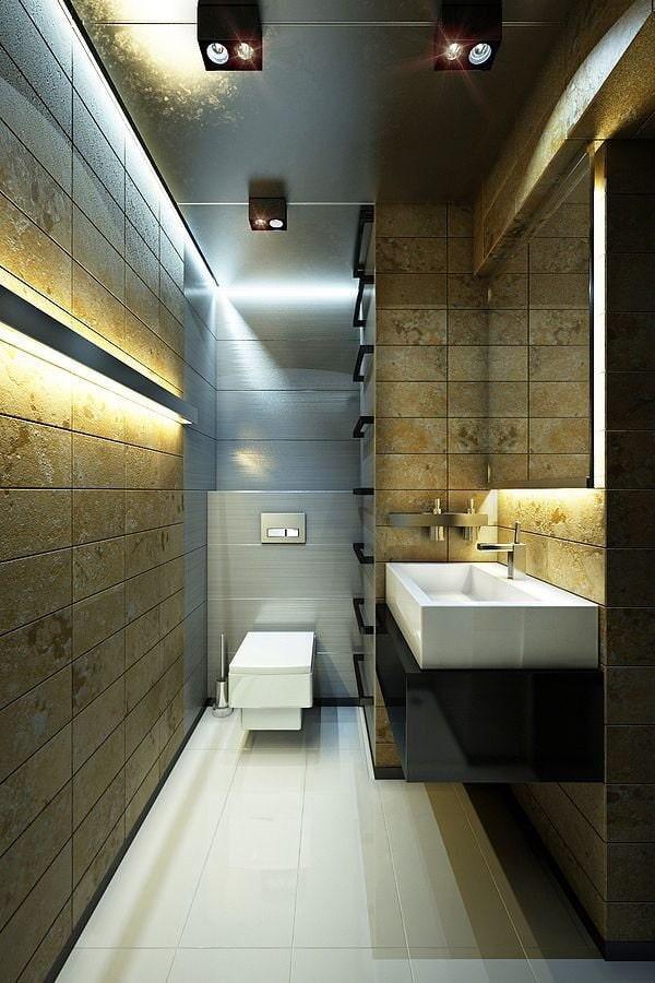 Подсветка потолка в туалете современного стиля