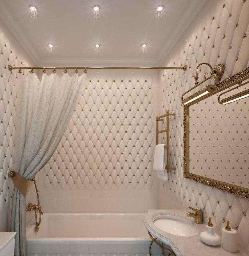 Точечные светильники на потолке ванной площадью в 2 кв метра