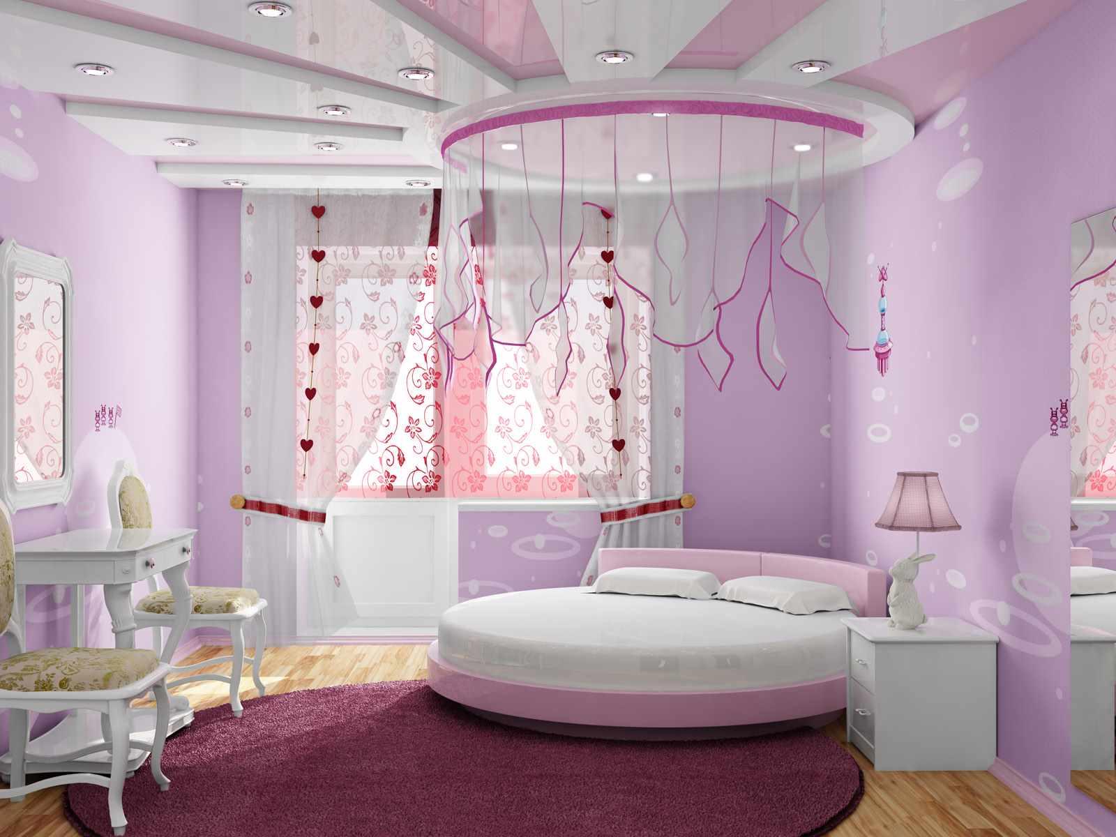 сиреневая спальня детская
