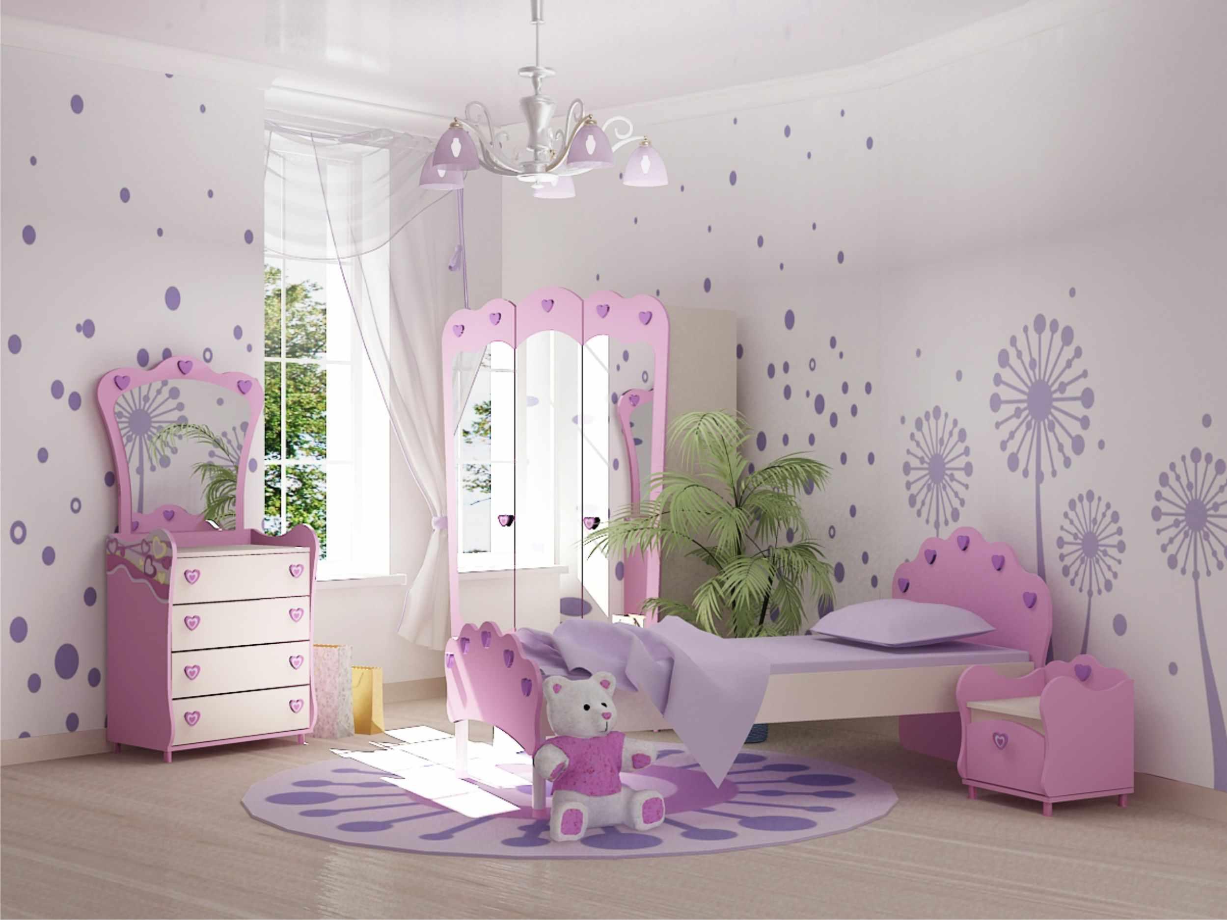 детская сиреневая спальня