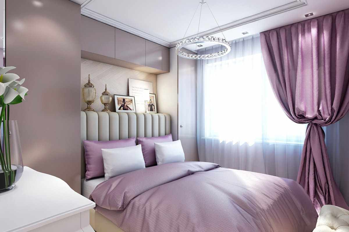 сиреневая спальня освещение