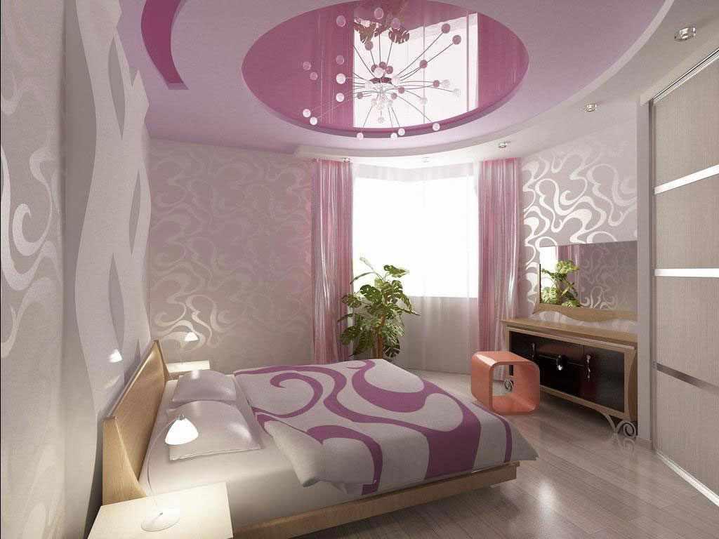 сиреневая спальня с бежевым
