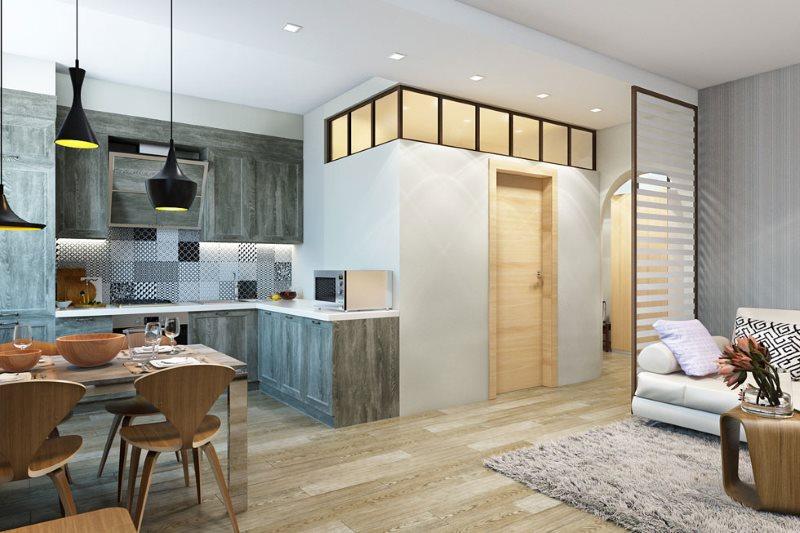 Дизайн-проект кухни гостиной после перепланировки