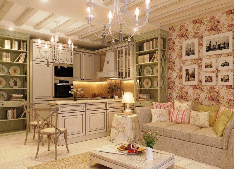 Дизайн кухни-гостиной в стиле французского прованса
