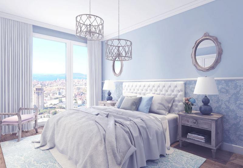 спальня в стиле прованс голубого цвета