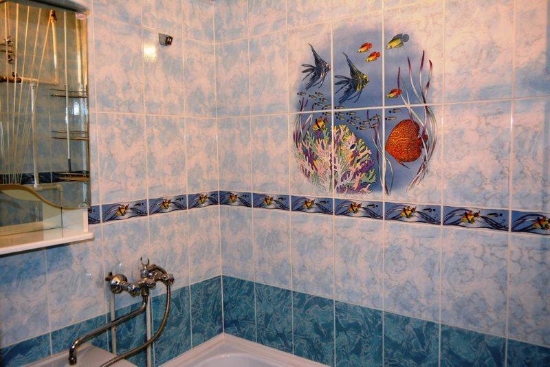 ПВХ-панели под кафельную плитку в ванной комнате