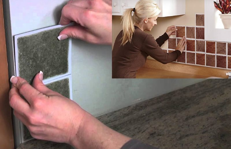 Приклеивание ПВХ-плитки на кухонный фартук