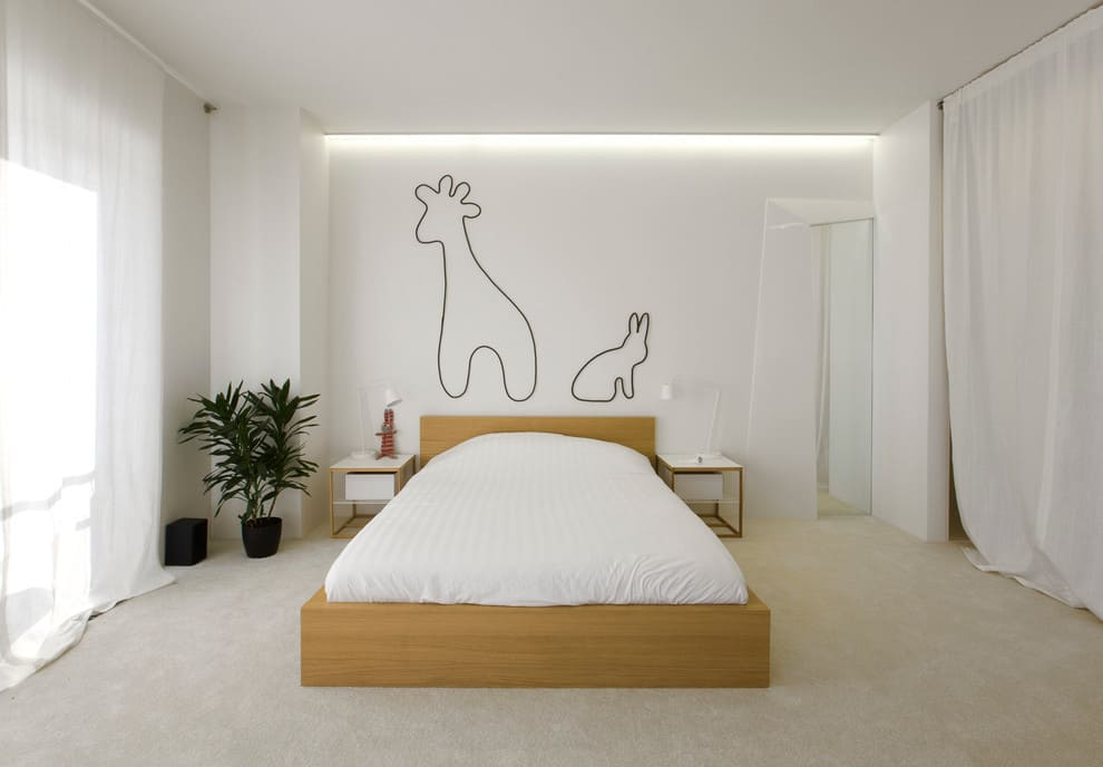спальня в стиле минимализм растения