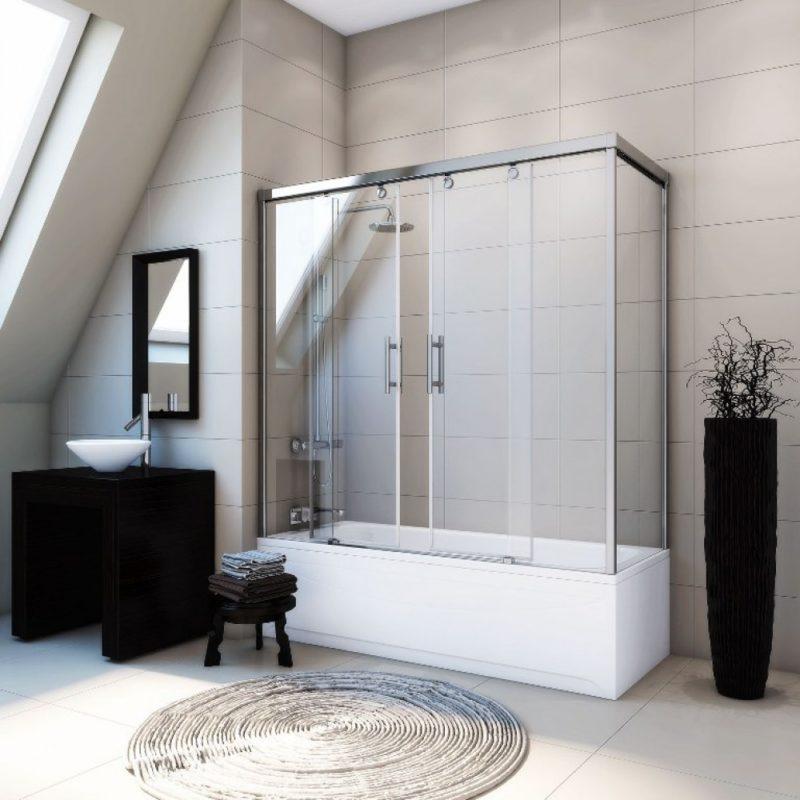 раздвижные шторки в ванной