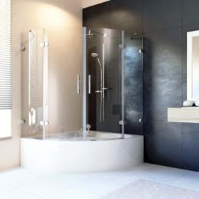 шторка для ванной комнаты из стекла идеи