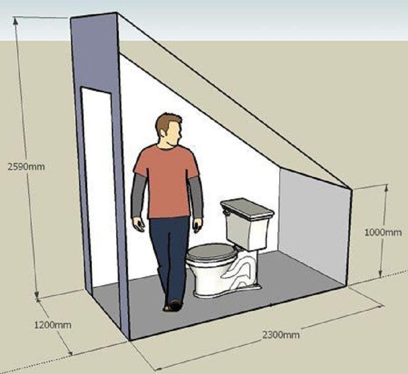 Размеры туалета под лестницей в частном доме