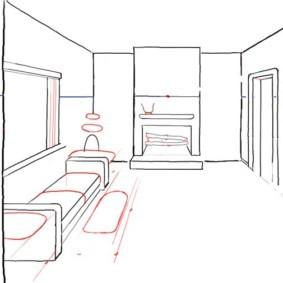 Рисование подушек дивана на эскизе кухни-гостиной