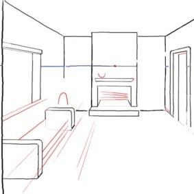 Рисование очертаний мебели в перспективе