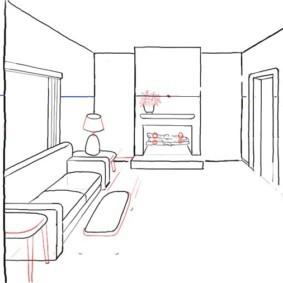 Рисование мелких деталей интерьера кухни-гостиной