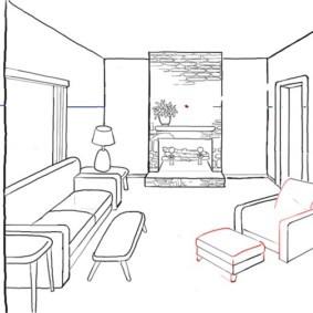 Рисунок кухни гостиной с диваном и креслом