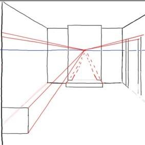 Рисование линий из точки исхода на эскизе в перспективе