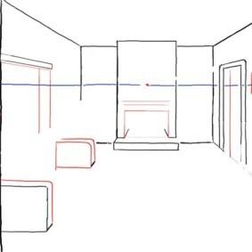 Рисование спинок дивана на эскизе кухни-гостиной