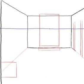 Рисование эскиза кухни-гостиной в перспективе