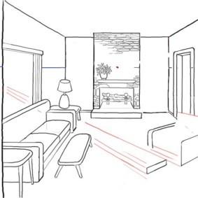 Рисунок карандашом кухни-гостиной в перспективе