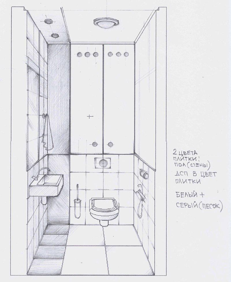 Эскиз от руки интерьера туалета