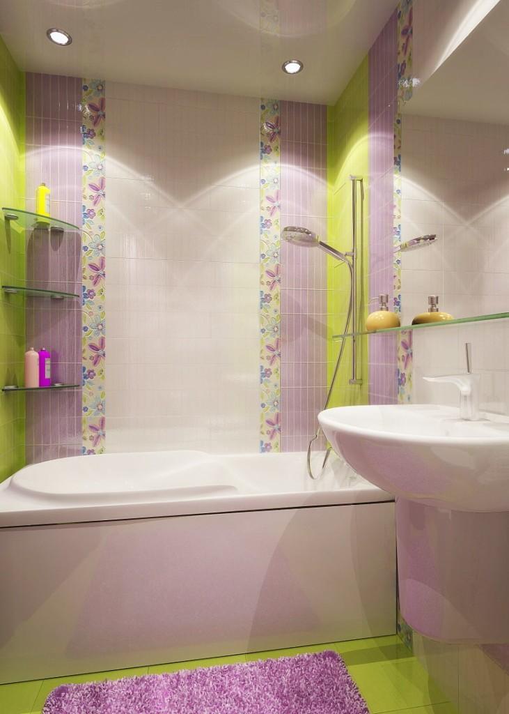 Вертикальная укладка мелкой плитки на стене в ванной