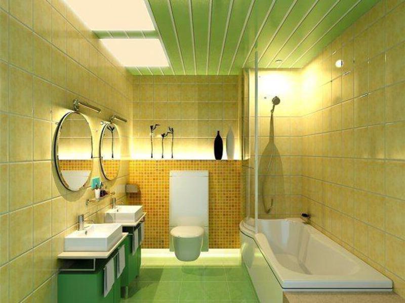 ПВХ-панели салатового цвета на потолке современной ванной