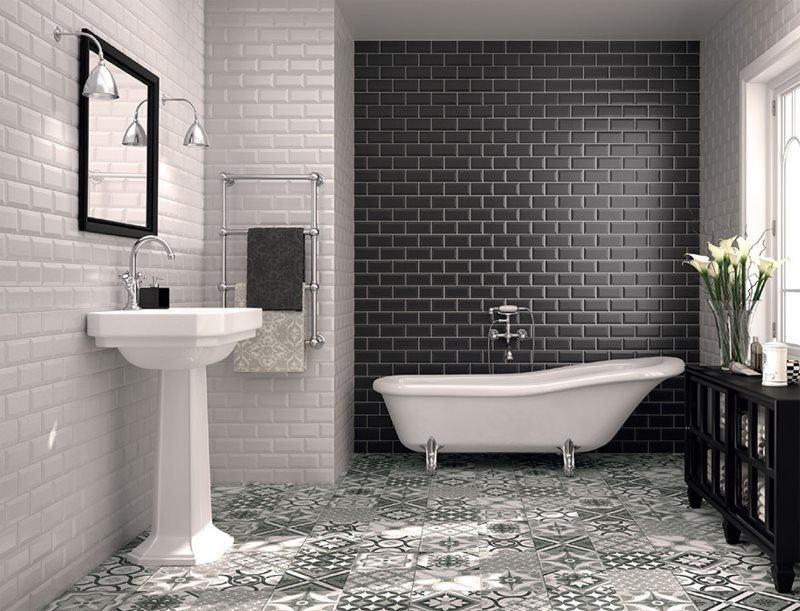Зонирование ванной комнаты плиткой кабанчик