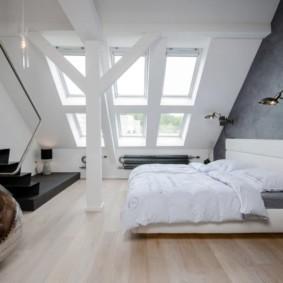мансардная спальня лофт