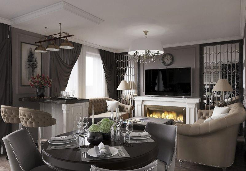 Интерьер кухни-гостиной в квартире с камином