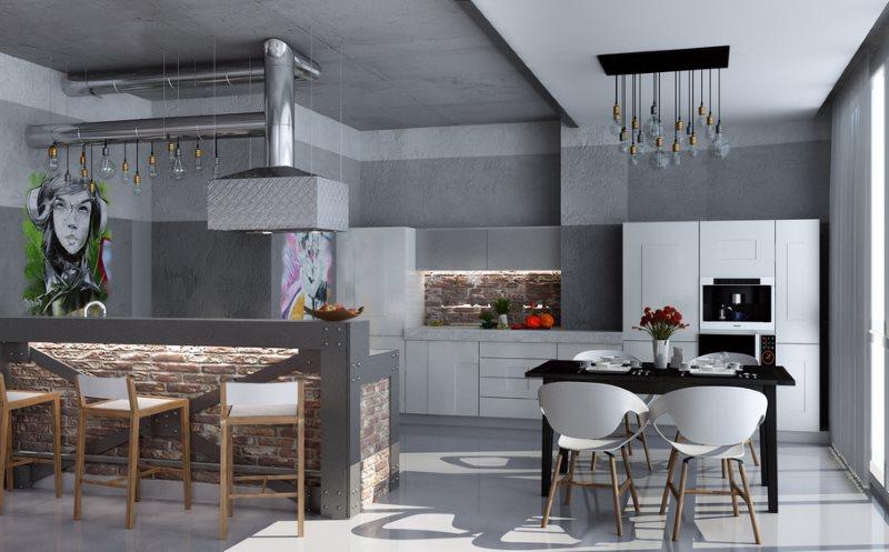 Кухня-гостиная с потолком серого цвета