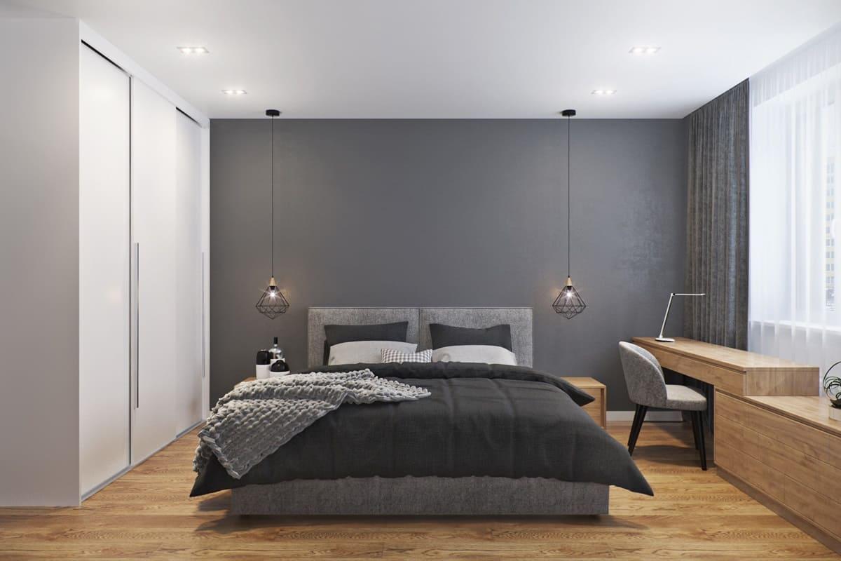 спальня в стиле минимализм со шкафом купе