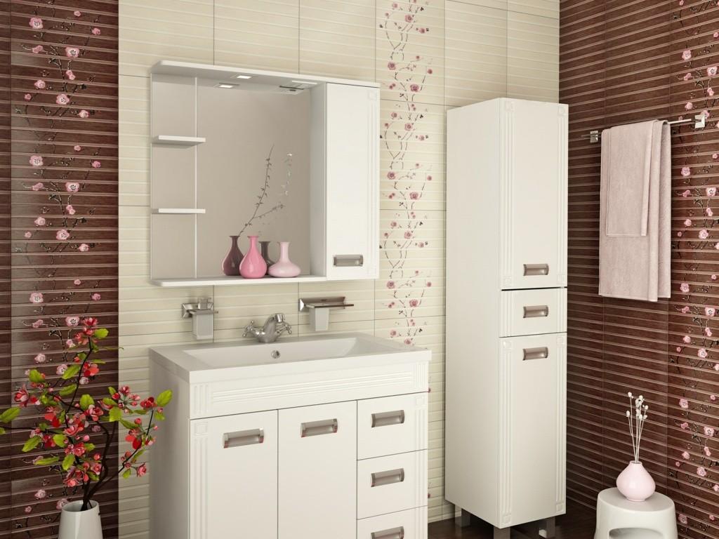 шкаф пенал с бельевой корзиной для ванной декор фото