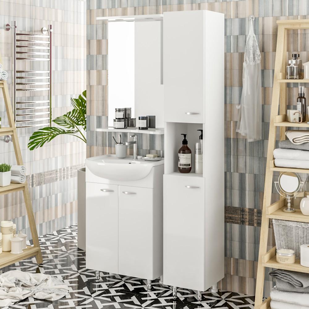 шкаф пенал с бельевой корзиной для ванной декор идеи