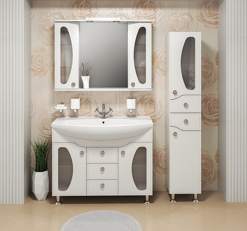шкаф пенал с бельевой корзиной для ванной декор