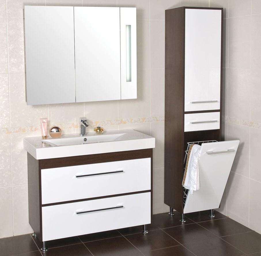 шкаф пенал с бельевой корзиной для ванной фото декора
